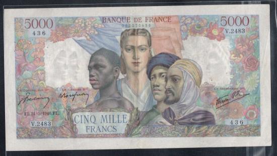 外鈔法國Francs 1946$5000A