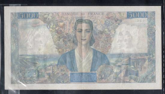 外鈔法國Francs 1946$5000B