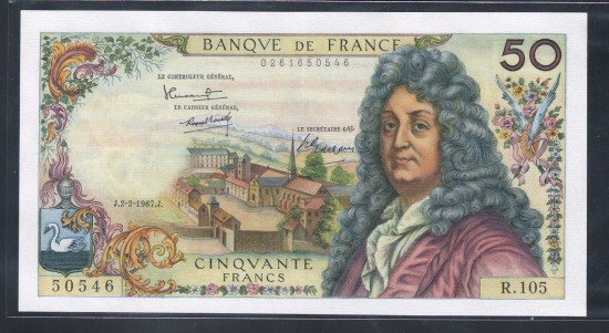 外鈔 法國Francs 1967年$50A
